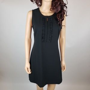 GAP Black Cotton Sleeveless Ruffle Dress